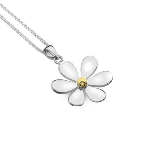 Daisy Pendant Sterling Silver 925 Hallmarked Gold Detail All Chain Lengths